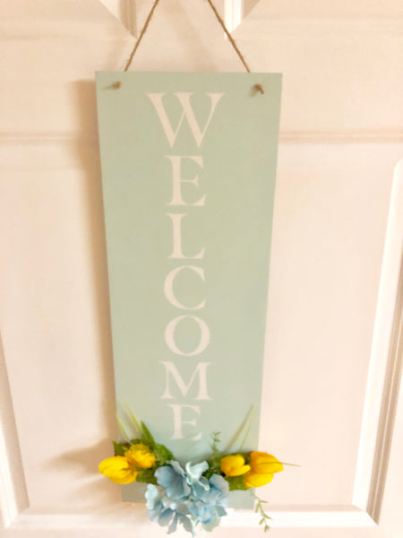 Blue Spring Floral Welcome Sign - Red River Valley Designs