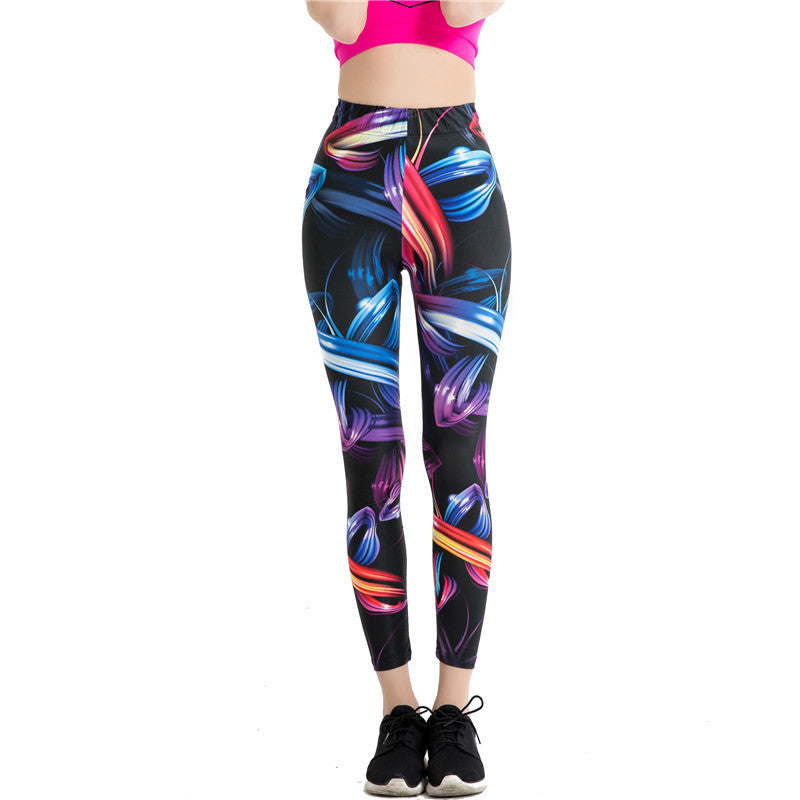 Abstract-Womens 3D Print Breathable Pencil Leggins One size