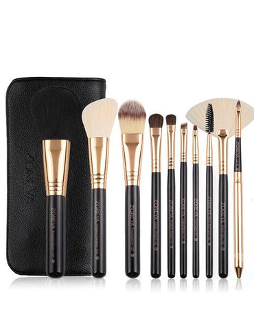 Black Sector Shape Makeup Brush Set With Black Brush Bag (10 Pcs) - Mad About Sales