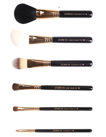 Black Sector Shape Makeup Brush Set With Black Brush Bag (10 Pcs)
