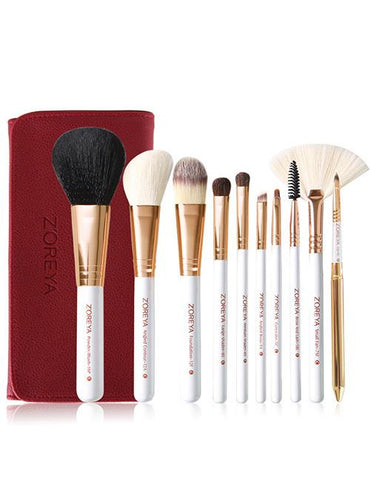 White Sector Shape Makeup Brush Set With Red Brush Bag (10 Pcs) - Mad About Sales