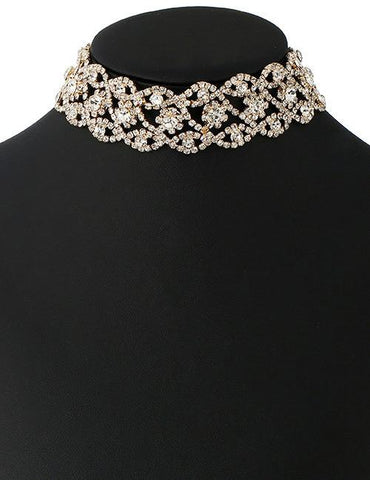 Round Shape Diamond Decorated Hollow Out Simple Choker - Mad About Sales