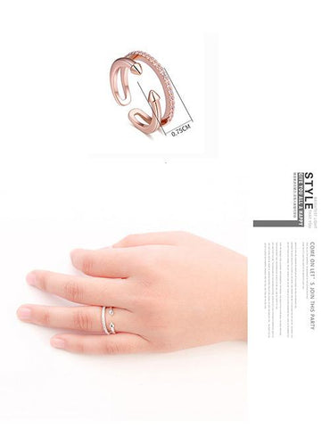 Fashion Silver Color Arrow Shape Decorated Open Rings