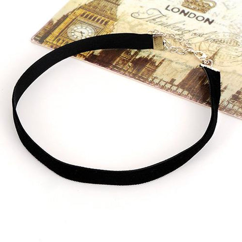Black Pure Color Decorated Simple Design Choker
