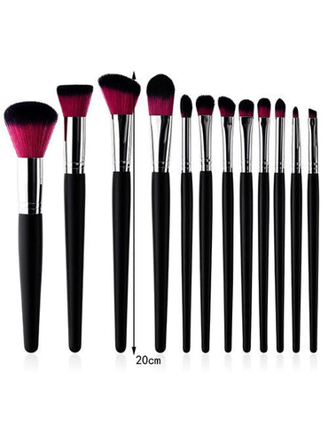 Pink + Black Color Matching Design Cosmetic Brush (12pcs) - Mad About Sales