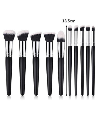 Black Pure Color Decorated Makeup Brush (4 Pcs ) - Mad About Sales