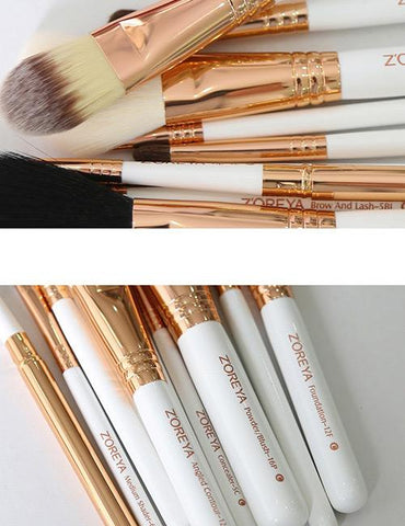 White Sector Shape Decorated Makeup Brush (10 Pcs)