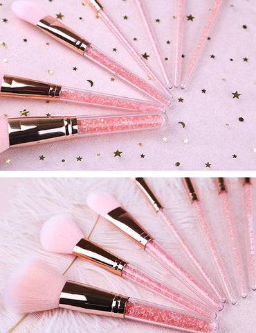 Pink Round Shape Decorated Makeup Brush (7 Pcs)