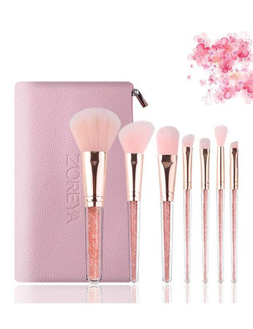 Pink Round Shape Decorated Makeup Brush (7 Pcs) - Mad About Sales
