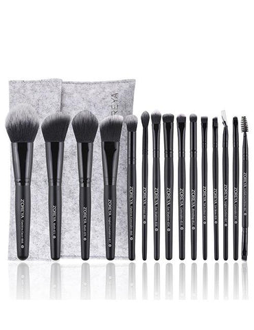 15 Piece Professional Makeup Brush Set Grey and Black - Mad About Sales