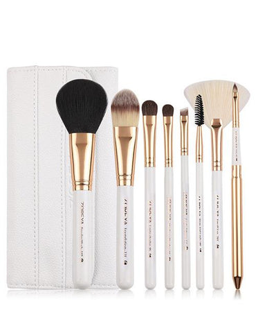 White Sector Shape Decorated Makeup Brush (8 Pcs)