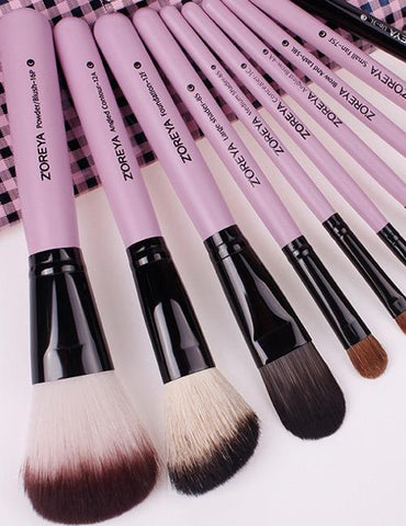 Pink + black Color Matching Decorated Cosmetic Brush (10pcs With Bag)