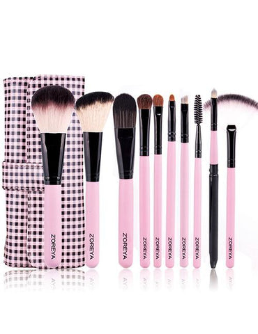 Pink + black Color Matching Decorated Cosmetic Brush (10pcs With Bag) - Mad About Sales