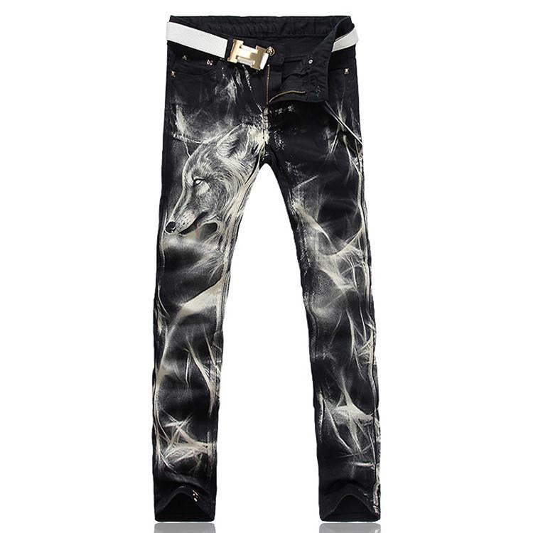 jeans wolf print
