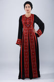 Front - Black Kaftan with red embroidery - Bayt Alya