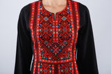 Zoom - Black Kaftan with red embroidery - Bayt Alya