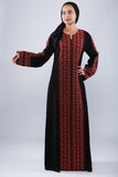 Front - Taditional black kaftan - Bayt Alya