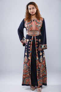 Front - Navy blue kaftan with colorful embroidery - Bayt Alya