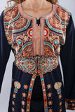 Zoom - Navy blue kaftan with colorful embroidery - Bayt Alya