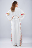 Back - White kaftan with yellow embroidery - Bayt Alya