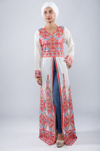 Front - White kaftan with colorful embroidery - Bayt Alya