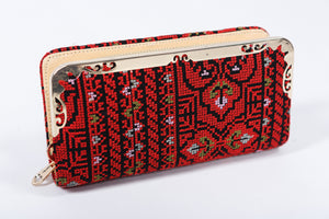 Hand Clutch - Black and red Embroidery - Bayt Alya