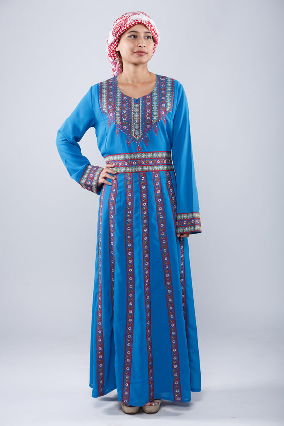 Front - Soft blue kaftan with floral design - Bayt Alya