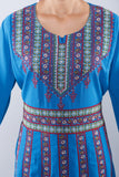Zoom - Soft blue kaftan with floral design - Bayt Alya