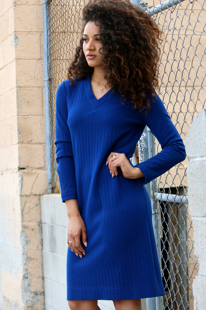 ALL BOUND UP BLUE SWEATER DRESS