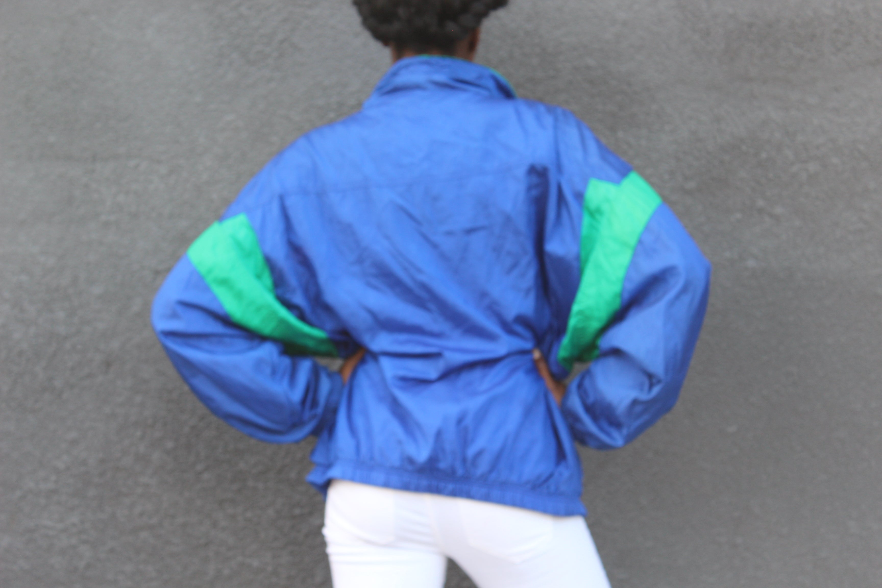 BLUE GREEN WINDBREAKER JACKET