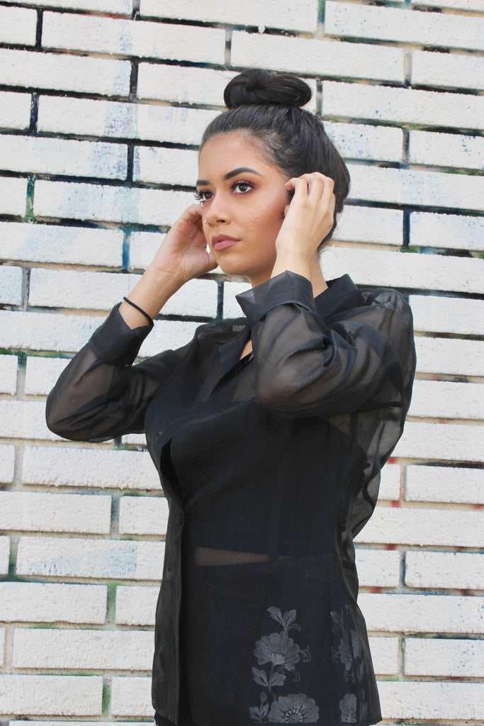 Black Sheer Vintage Blouse