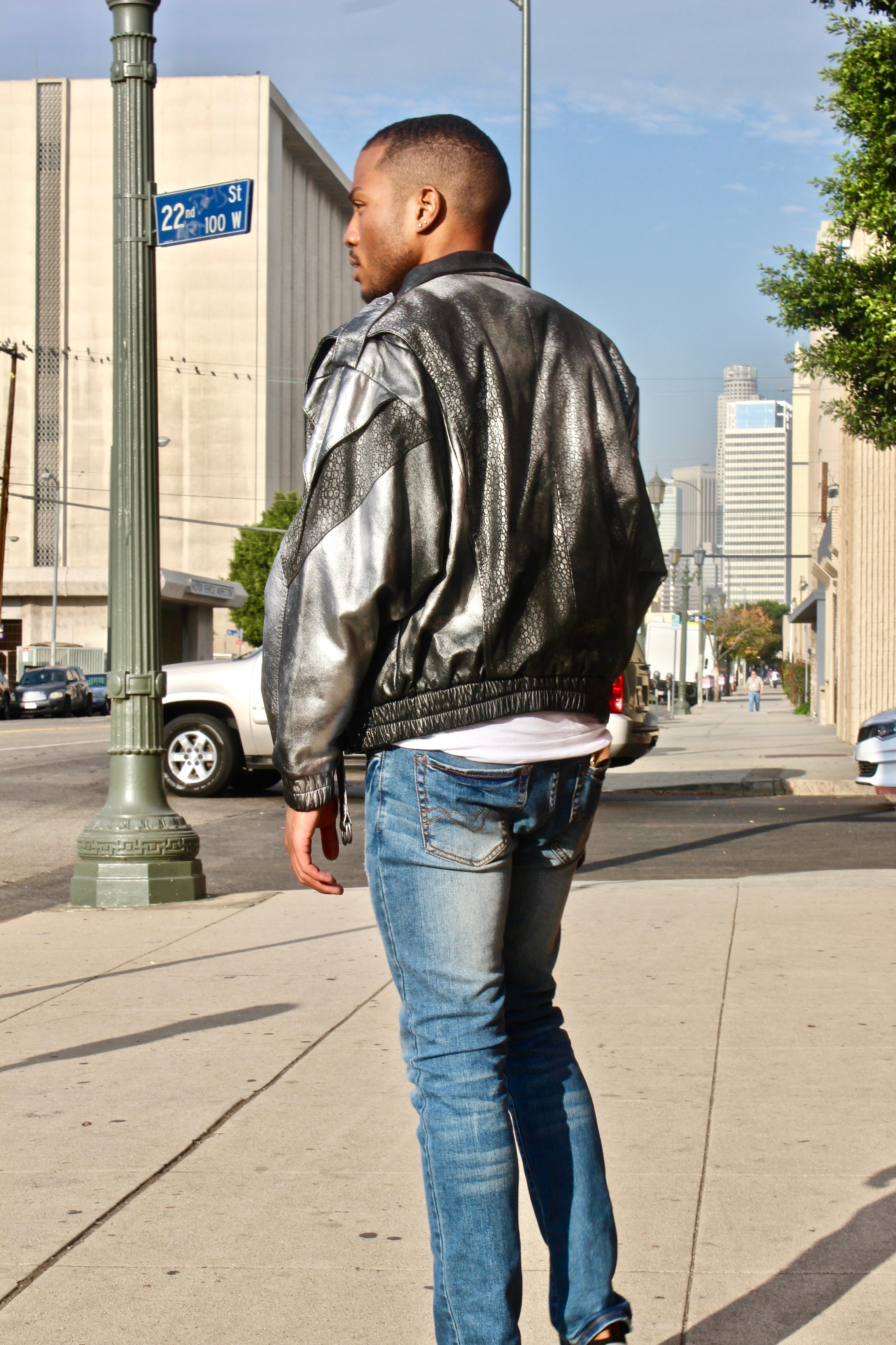 SILVER CUSTOM MOTO VINTAGE LEATHER JACKET