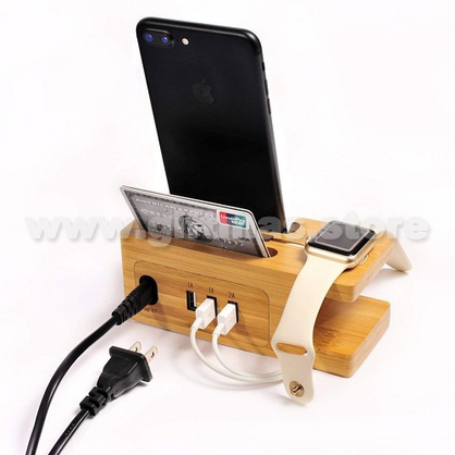 Bamboo Charger Station / Phone stand with 3 USB Ports