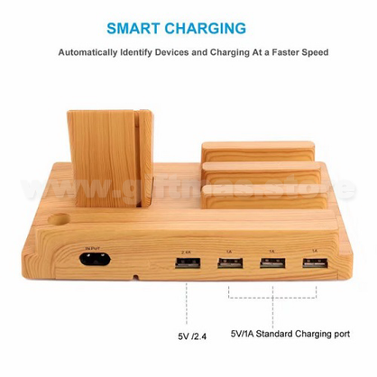 Bamboo USB Charging Station&Phone stand with 4 USB Ports