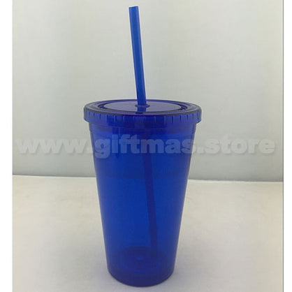 Double Wall Tumbler with Screw Top Lid and Straw