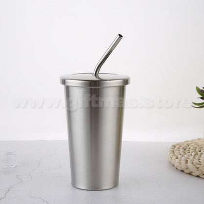 Metal Double-wall Tumbler with Screw Top Lid and Straw