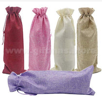 Jute Drawstring Wine Bag