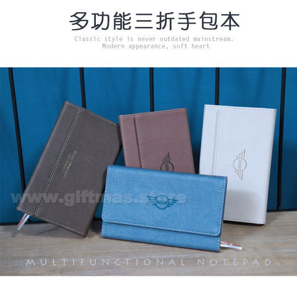 Handy 3-folded Multi-functional Notepad Folder