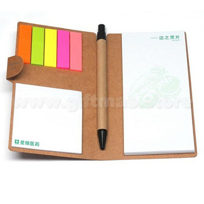 Kraft Paper cover Memo Notepad with Ball Pen