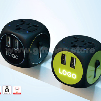 Universal Travel Adaptor in Dice shape - Light-Up LOGO
