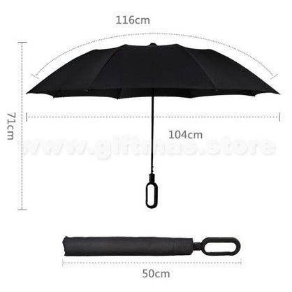 2-Folded Umbrella with O-shape rubber touch Handle