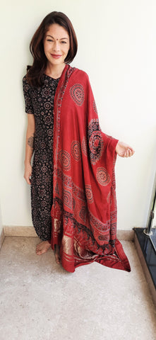 Madder red Ajrakh Dupatta