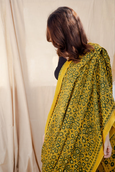 Ajrakh turmeric yellow saree in modal silk