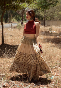 Ajrakh tiered skirt and crop top set