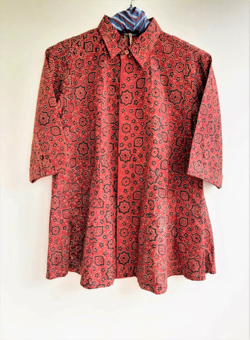 Madder red ajrakh women's shirt