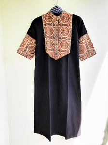 Black ajrakh patchwork kurta and palazzo set