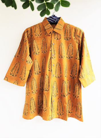 Turmeric yellow ajrakh women's shirt