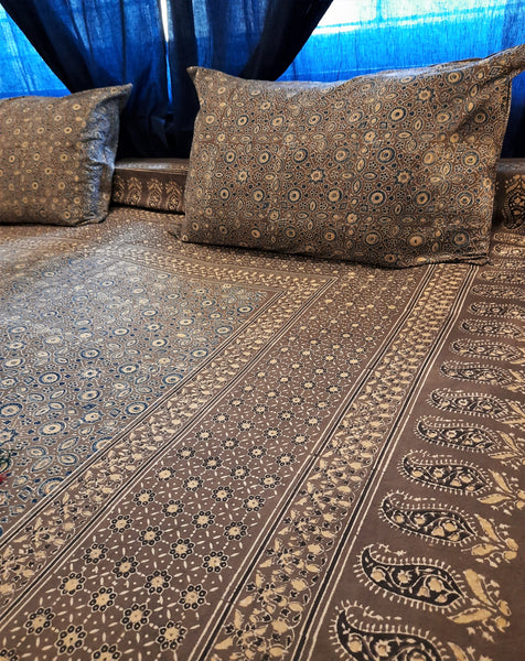 Grey ajrakh bed cover