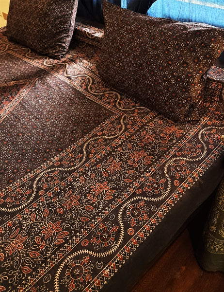 Brown ajrakh bed linen