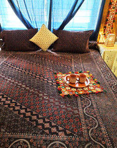 Deep brown hand block print ajrakh bed linen